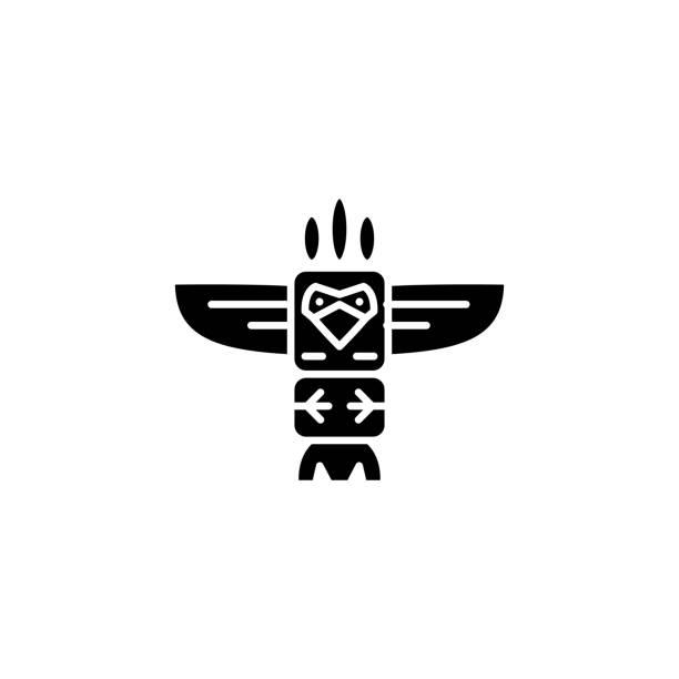 圖騰黑色圖示概念。圖騰平面向量符號, 符號, 插圖。向量藝術插圖