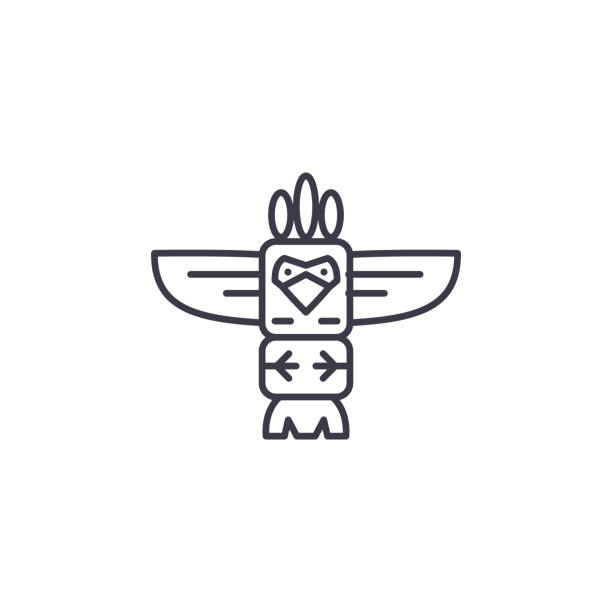 illustrazioni stock, clip art, cartoni animati e icone di tendenza di totem linear icon concept. totem line vector sign, symbol, illustration. - totem fair