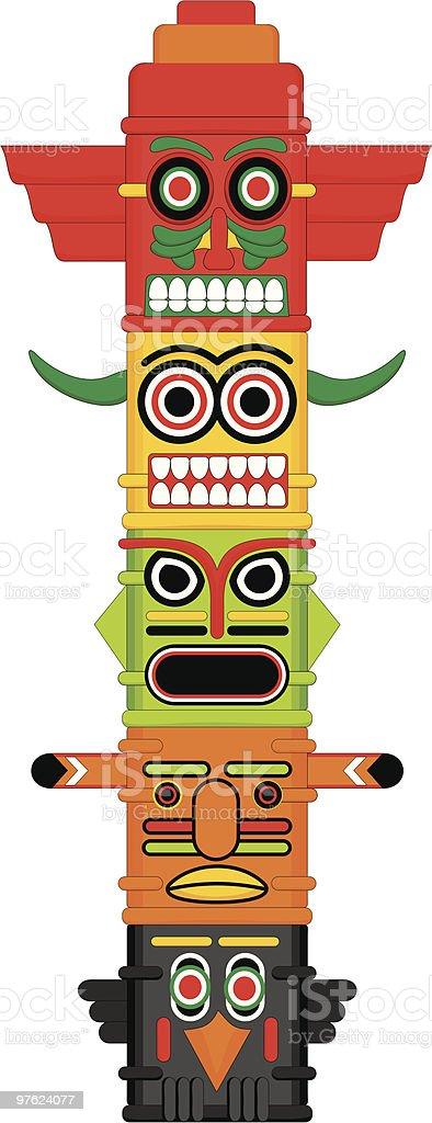 Totem pole Indian Vector illustration royaltyfri vektorgrafik i bildbank