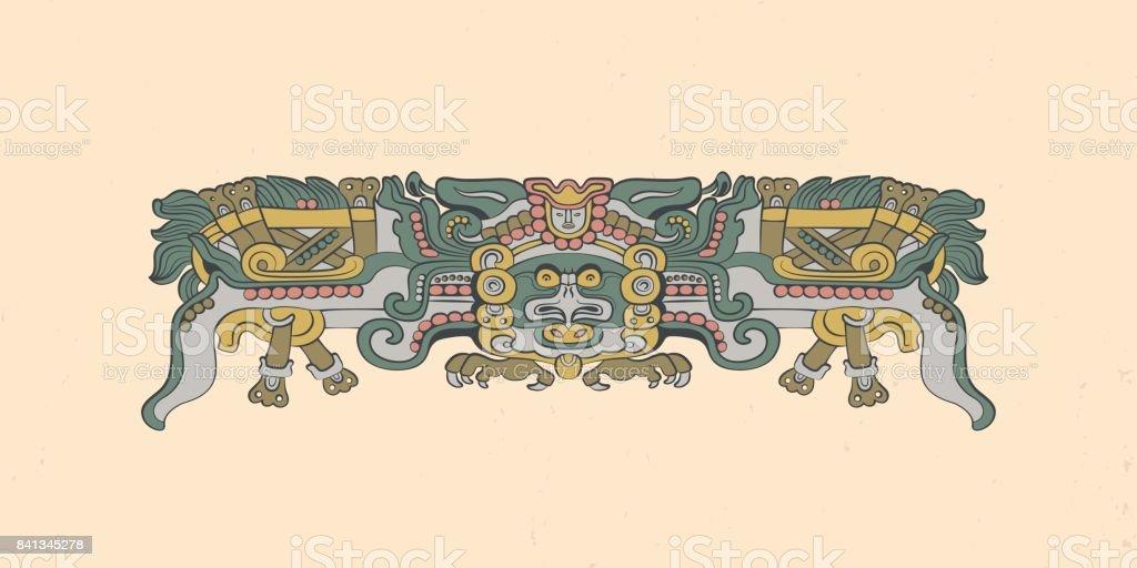 Totemic owl in flight Mayan graphic illustration vector art illustration