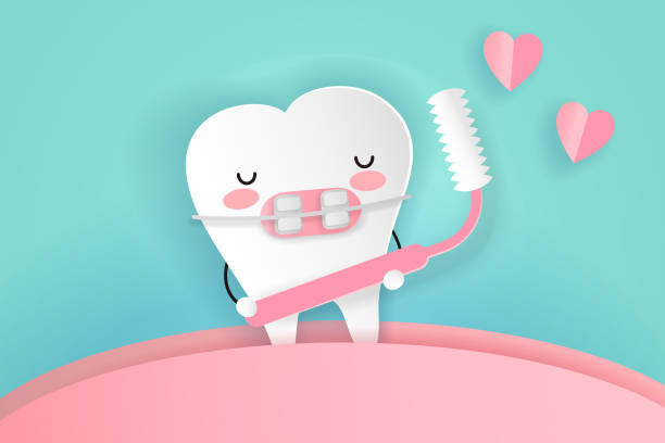 toth mit zahnpflege - manschetten stock-grafiken, -clipart, -cartoons und -symbole