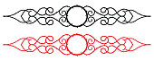 Tattoo thorns shape graphic element, black and red vector illustration.
