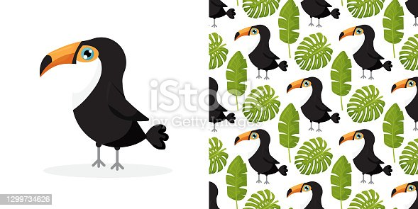 istock Toucan bird cartoon character. Cute toucan flat vector isolated on white. South America fauna. background with tropical leaves and toucans. Vector seamless pattern for stylish fabric design. Vector illustration 1299734626