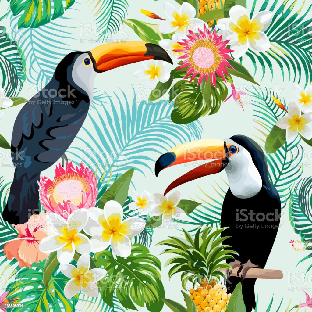 Vintage Style Tropical Bird And Flowers Background: Toucan Bird Tropical Flowers Background Retro Seamless