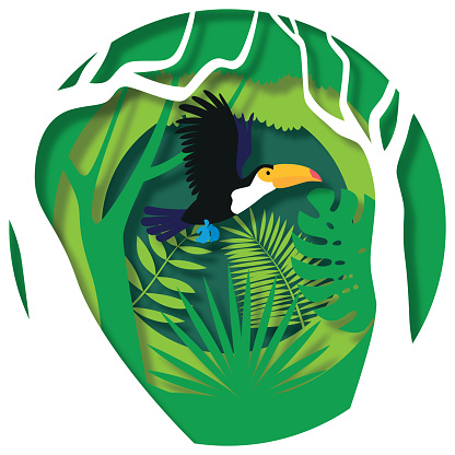 Toucan flying through paper cut out jungle scene. Paper cut style, vector stock illustration
