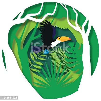 istock Toucan flying through paper cut out jungle scene. Paper cut style, vector stock illustration 1248861523