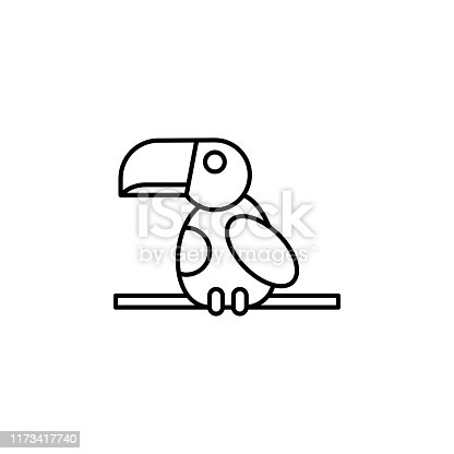 toucan line icon. Element of jungle for mobile concept and web apps illustration. Thin line icon on white background