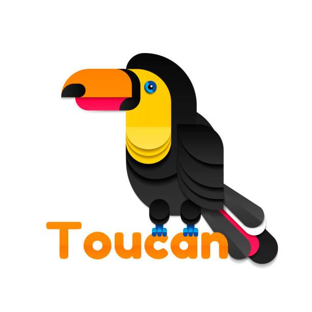 Toucan von farbigem Papier – Vektorgrafik