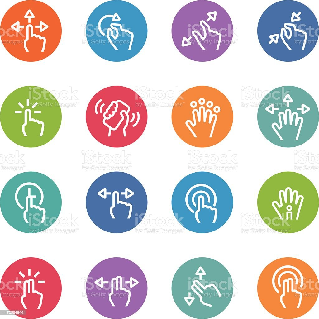 Touch Gesture Icons - Circle Line Series vector art illustration