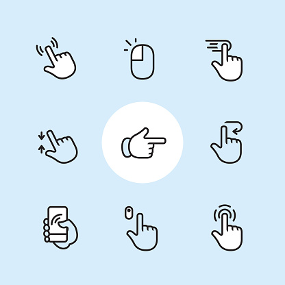 Touch Gestures 3 - outline icon set