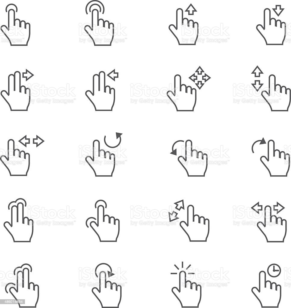 Touch Gestures Icons vector art illustration