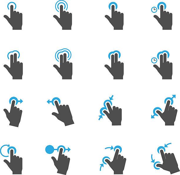ilustrações de stock, clip art, desenhos animados e ícones de gestos de toque os ícones - gesticular