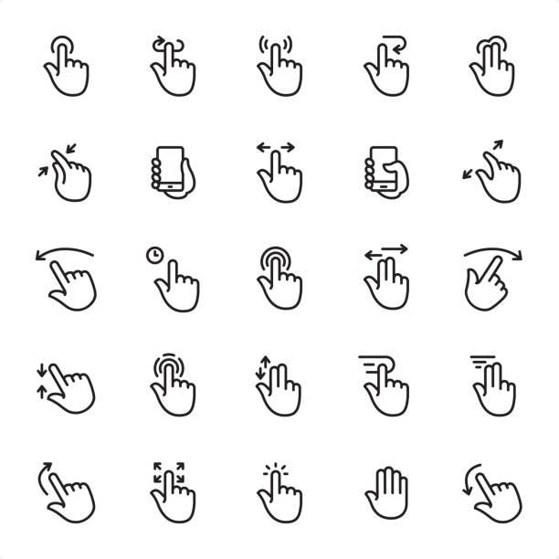 ilustrações de stock, clip art, desenhos animados e ícones de touch gestures - outline icon set - gesticular