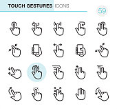 20 Outline Style - Black line - Pixel Perfect - Touch Gestures icons / Set #59 / Icons are designed in 48x48pх square, outline stroke 2px.  First row of outline icons contains:  Tap Button, Back Arrow Gesture,  Press Gesture, Undo Gesture, Multi-Finger Tap Gesture;  Second row contains:  Zoom in Gesture, Holding Mobile Phone, Sliding, Holding Mobile Phone (Thumb), Zoom Out Gesture;  Third row contains:  Pinch, Tapping, Dragging, Double Finger Scroll, Double Finger Dragging;   Fourth row contains:  Flick Up , Tap (Click), Drag Gesture, Palm of Hand (Stop Gesture), Flick Down.  Complete Primico collection - https://www.istockphoto.com/collaboration/boards/NQPVdXl6m0W6Zy5mWYkSyw