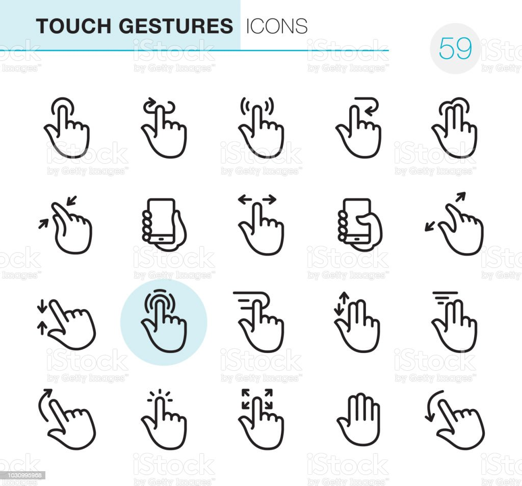 Touch Gestures - Pixel Perfect icons vector art illustration