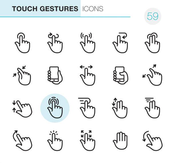 ilustraciones, imágenes clip art, dibujos animados e iconos de stock de gestos touch - iconos perfecto pixel - física