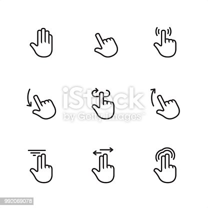 Touch Gestures / 9 Outline style black and white icons / Set #14  First row of outline icons contains: Raised hand, Point, Tap;  Second row contains: Swipe down, Rotate, Swipe Up;  Third row contains: Two finger Flick, Two finger Drag, Multi-finger Press.  Pixel Perfect Principle - all the icons are designed in 64x64px grid, outline stroke 2px.  Complete Outline 3x3 PRO collection - https://www.istockphoto.com/collaboration/boards/hyo8kGplAEWxASfzDWET0Q