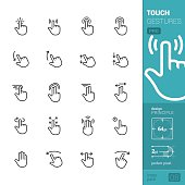 """20 Touch Gestures """"Linear style"""" vector icons pack."""