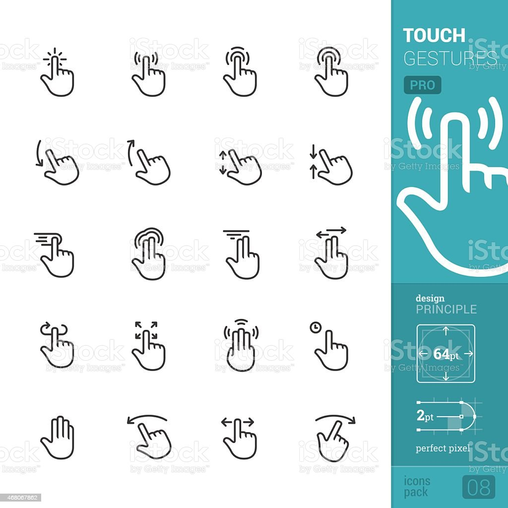 Touch gestures vector icons - PRO pack vector art illustration