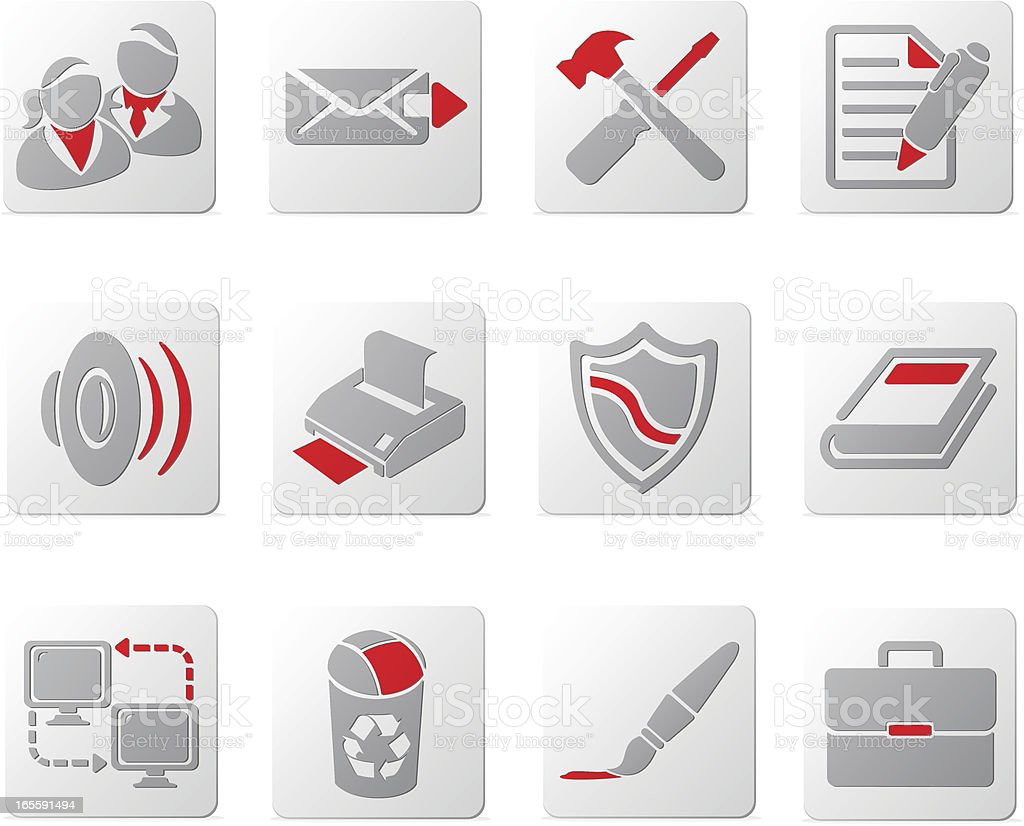 Touch of Red Icons | Set Five vector art illustration
