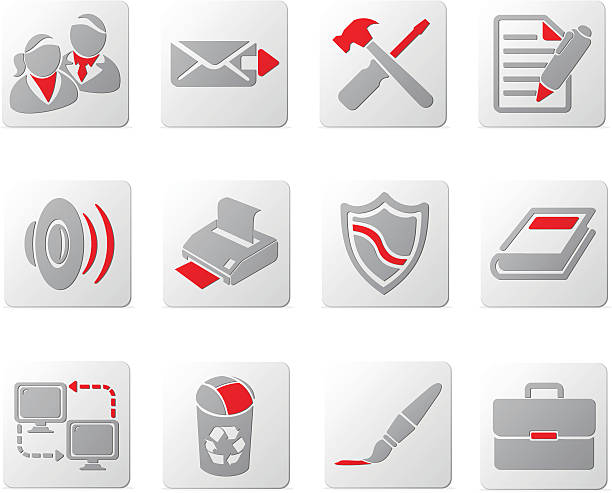 touch of red icons | set five - byteandpixel stock illustrations