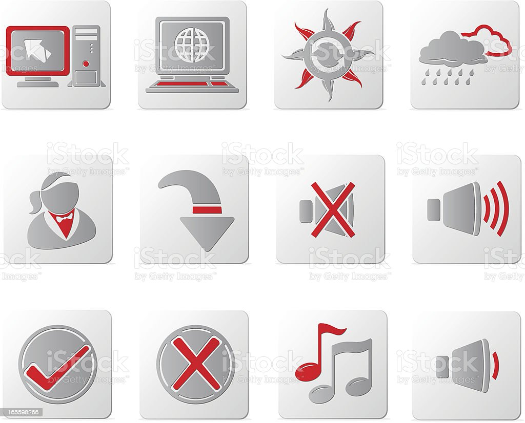 Touch of Red Icons | Set Four royalty-free stock vector art