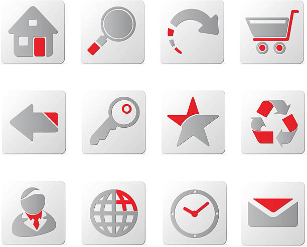 touch of red icons | set one - byteandpixel stock illustrations