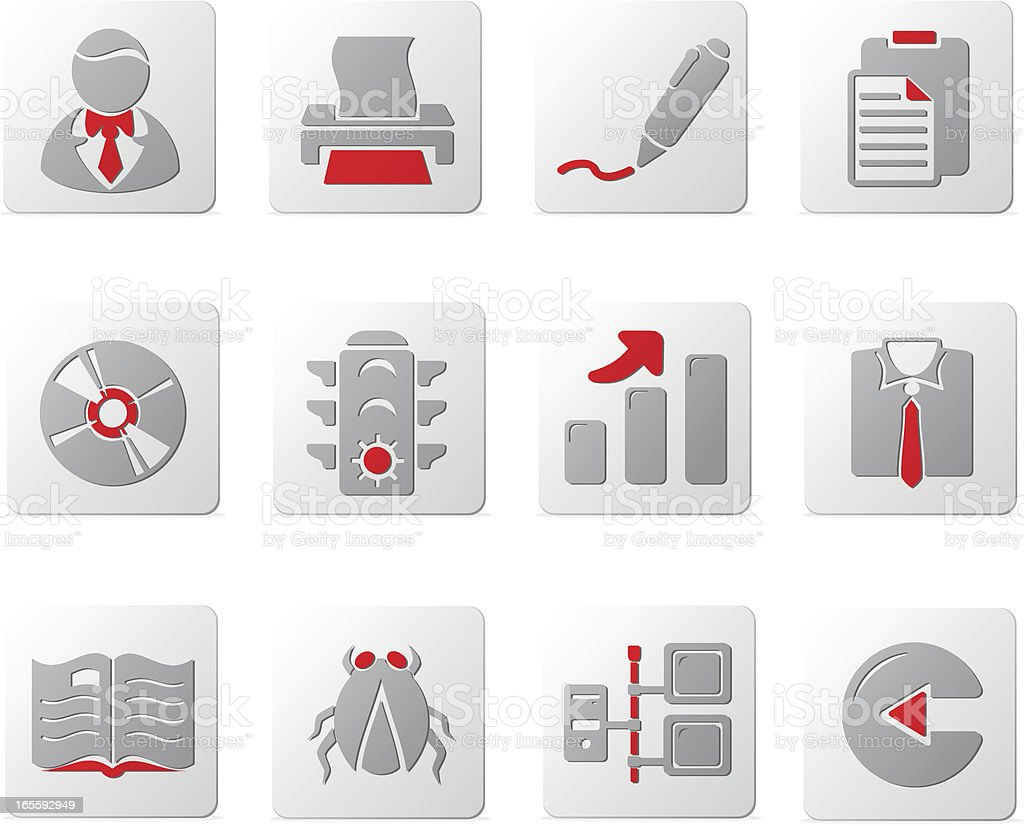 Touch of Red Icons | Set Six vector art illustration