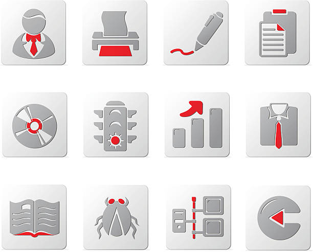 touch of red icons | set six - byteandpixel stock illustrations
