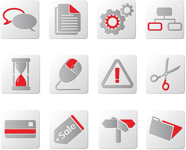 touch of red icons | set three - byteandpixel stock illustrations