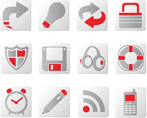touch of red icons | set two - byteandpixel stock illustrations