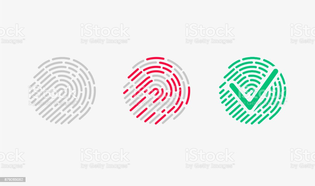 Touch Recognition. Accessed Icon Set. vector art illustration