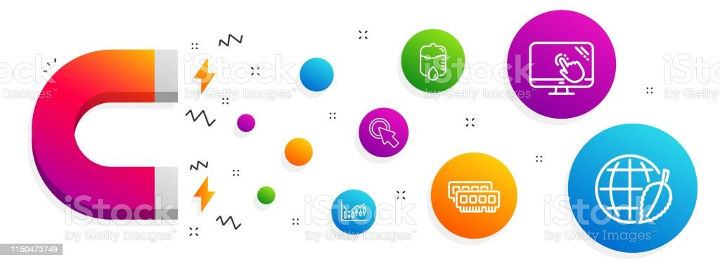 Touch Screen Click Here And Drop Counter Icons Set Ram Financial