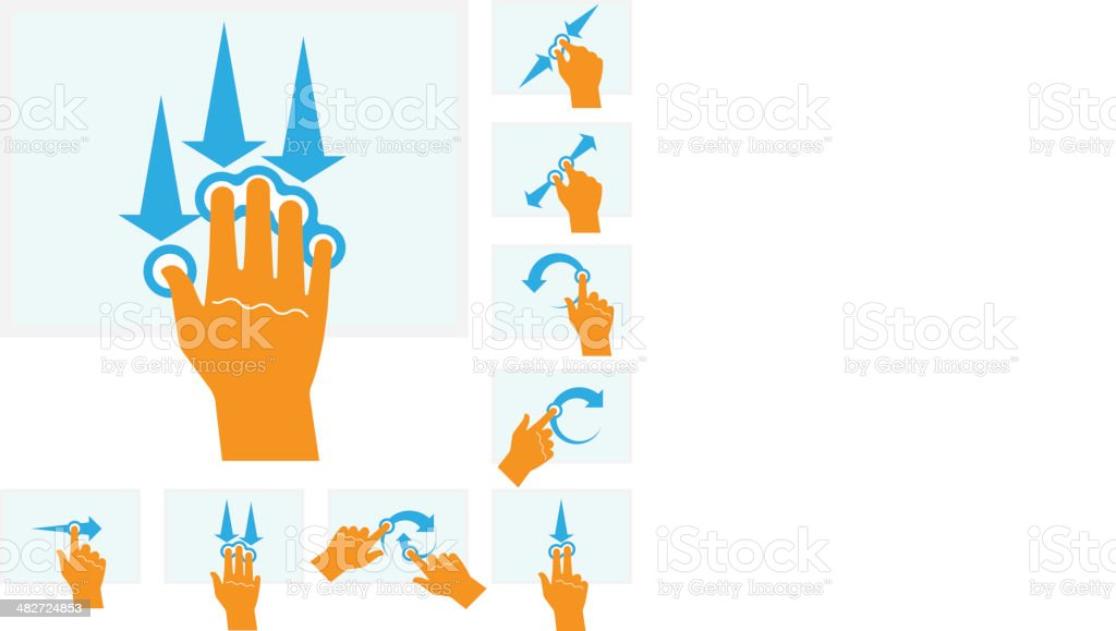 Touch Screen Finger/hand Gestures vector art illustration