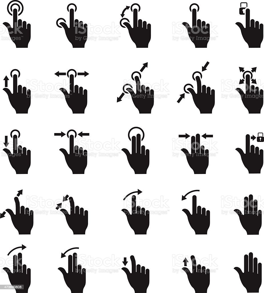 Touch Screen Gesture Collection vector art illustration