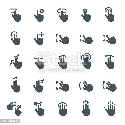 Touch Screen, Gesturing, Icons, Tapping, Cursor, Hand Sign