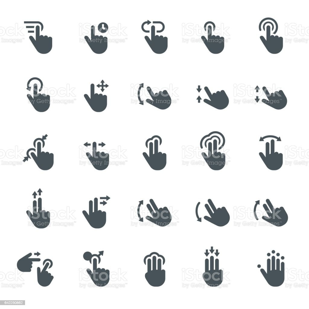 Touch screen gesture icons vector art illustration