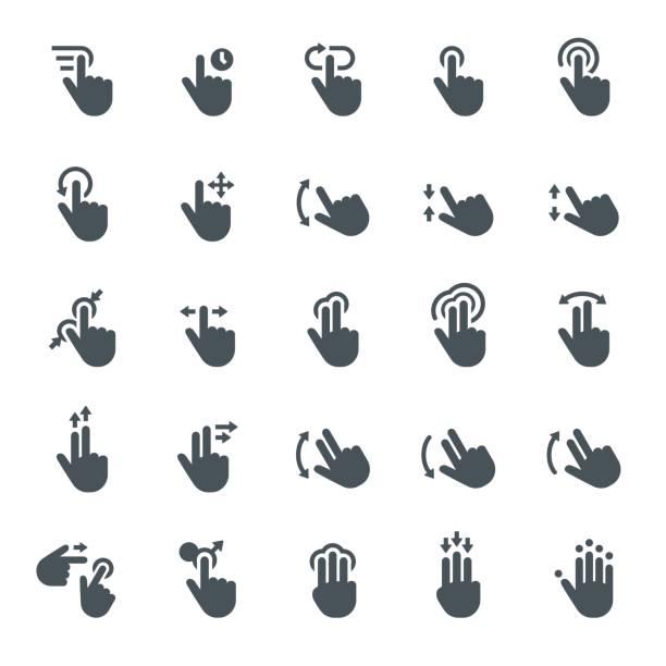 ilustraciones, imágenes clip art, dibujos animados e iconos de stock de gesto de pantalla táctil de iconos - física