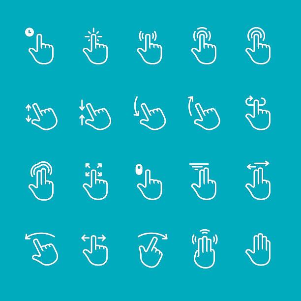 ilustrações de stock, clip art, desenhos animados e ícones de gestos do ecrã tátil com vetor ícones - gesticular
