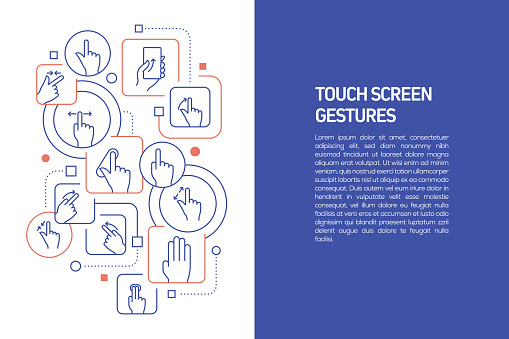 Touch Screen Gestures Concept, Vector Illustration of Touch Screen Gestures and Icons