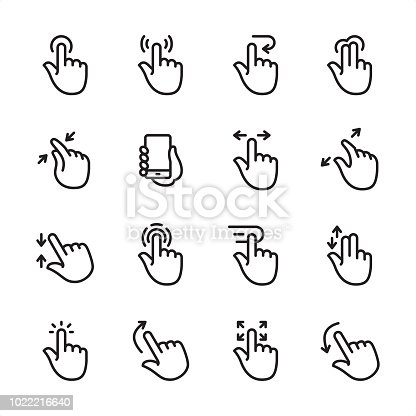 16 line black on white icons / Set #61 Pixel Perfect Principle - all the icons are designed in 48x48pх square, outline stroke 2px.  First row of outline icons contains:  Tap Button, Press Gesture, Undo Gesture, Multi-Finger Tap Gesture;  Second row contains:  Zoom in Gesture, Holding Mobile Phone, Sliding, Zoom Out Gesture;  Third row contains:  Pinch, Tapping, Dragging, Double Finger Scroll;   Fourth row contains:  Tap (Click), Flick Up, Drag Gesture, Flick Down.  Complete Inlinico collection - https://www.istockphoto.com/collaboration/boards/2MS6Qck-_UuiVTh288h3fQ