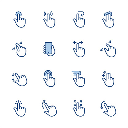 Touch Screen Gestures - Pixel Perfect blue outline icons
