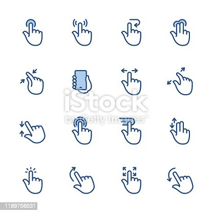 16 indigo and blue Touch Screen Gestures icons set #53 Pixel perfect icon 48x48 pх, outline stroke 2 px.  First row of  icons contains: Push Button, Wireless Technology Gesture, Back Arrow Gesture, Double Touch Gesture;  Second row contains:  Zoom in, Holding Mobile Phone, Sliding, Zoom Out;  Third row contains:  Touching Up and Down, Tapping, Dragging, Double Finger Touching;   Fourth row contains:  Click, Up Dragging, Full Screen Gesture, Down Dragging.  Complete Indigico collection - https://www.istockphoto.com/collaboration/boards/t5bVQfKvf0a-h6WHcFLuIg