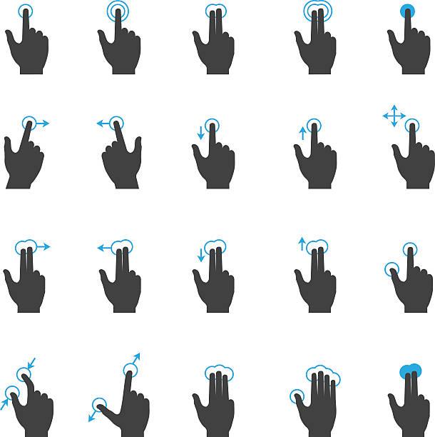 ilustrações de stock, clip art, desenhos animados e ícones de ecrã táctil mão gesto conjunto de ícones - gesticular