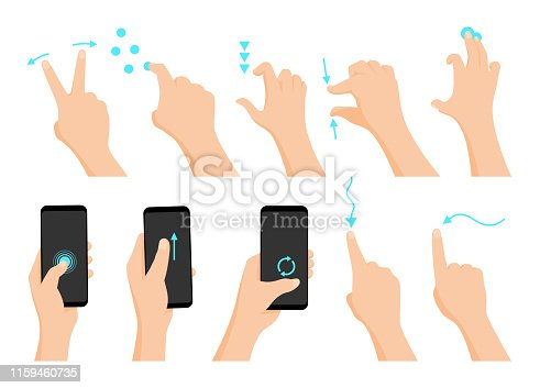 Touch screen hand gestures flat colored icon series with arrows showing direction of movement of fingers isolated vector illustration