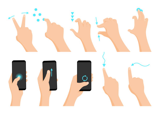 touch screen hand gestures flat colored icon series with arrows showing direction of movement of fingers isolated vector illustration - palec stock illustrations