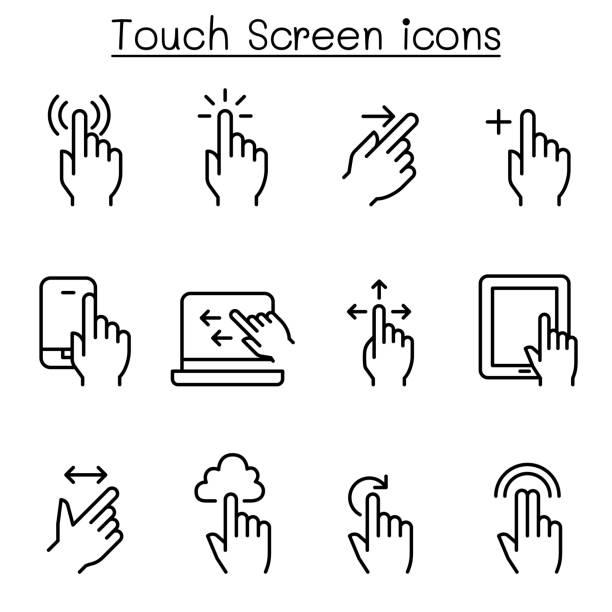 ilustraciones, imágenes clip art, dibujos animados e iconos de stock de toque el icono de pantalla en estilo de línea fina - pantalla táctil