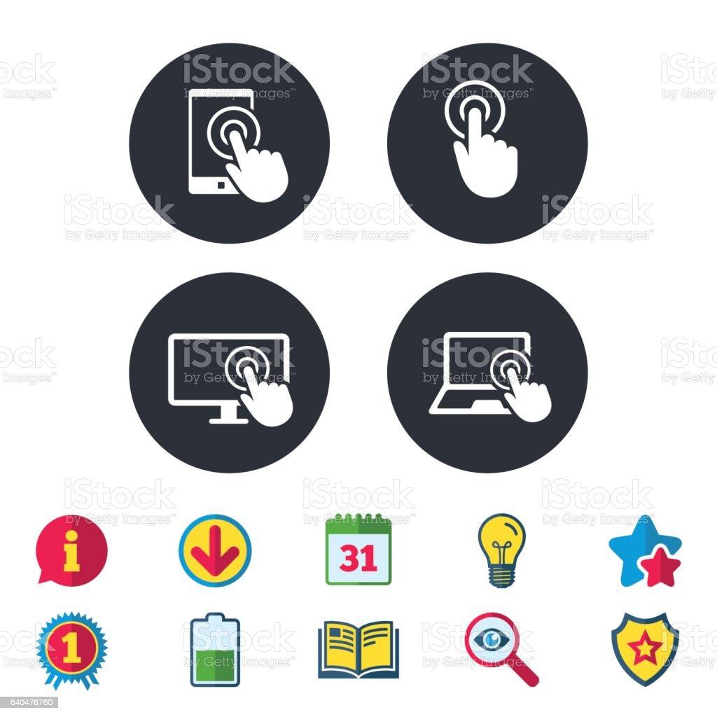 Touch screen smartphone. Hand pointer symbols. vector art illustration