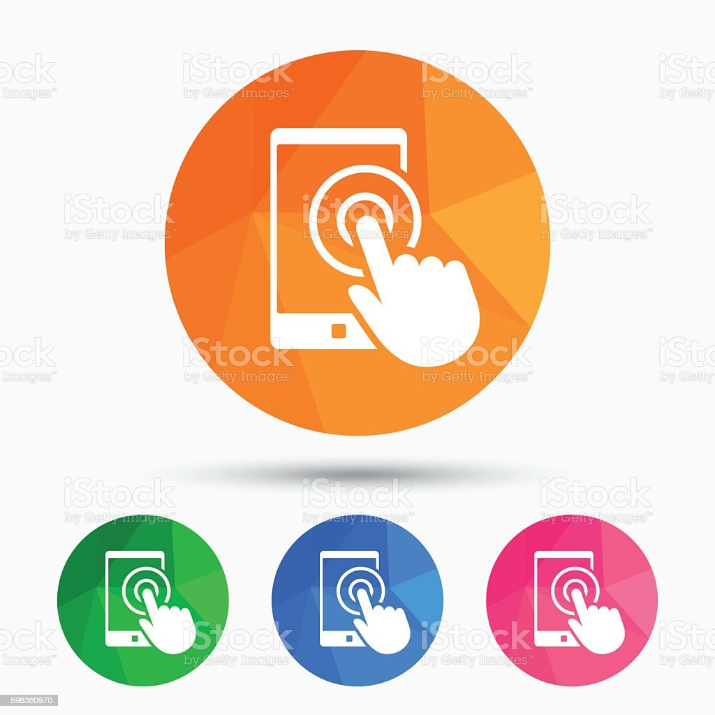 Touch screen smartphone sign icon. Hand pointer royalty-free touch screen smartphone sign icon hand pointer stock vector art & more images of badge