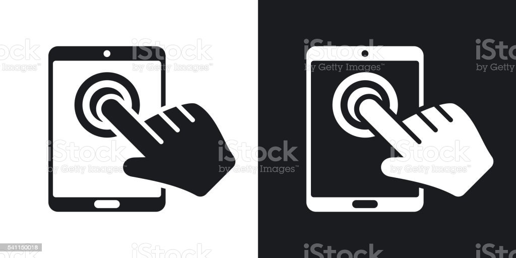 Touch screen tablet icon, vector.
